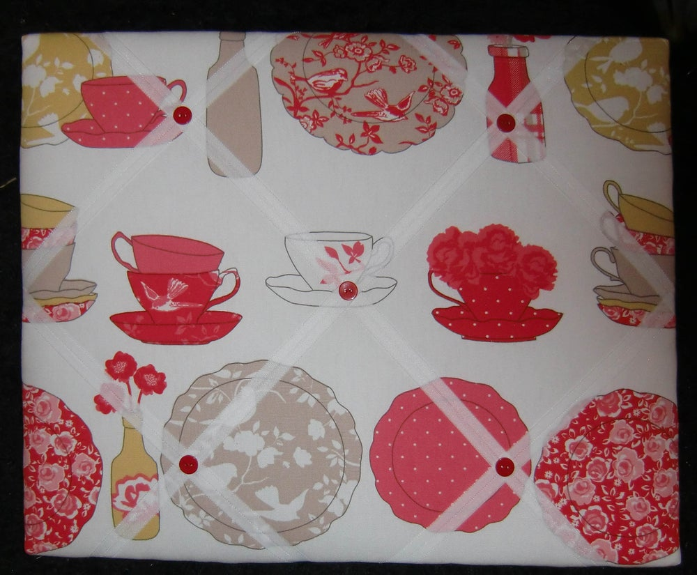 Image of Ashley Wilde,poppy and teacup fabric covered, BOX FRAMED,Memo board