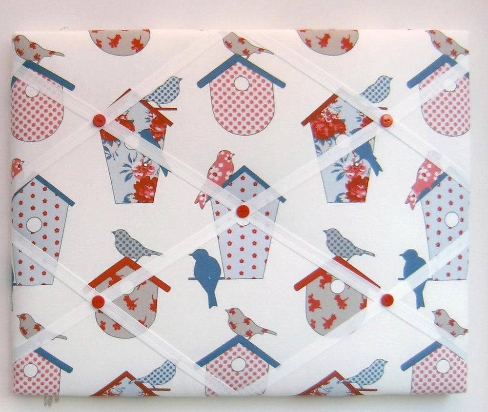Image of Birds in bird boxes fabric,box framed Memo board