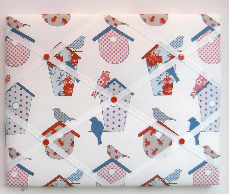 Image of Birds in bird boxes fabric,box framed Memo board
