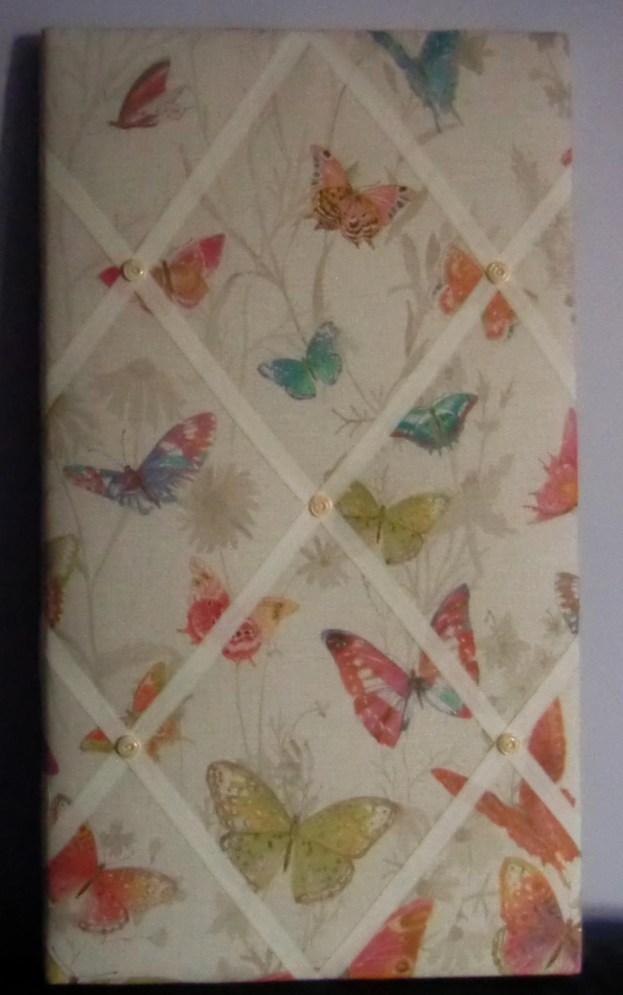 Image of Butterflies fabric covered,box framed,large Memo/message/pin/notice Board