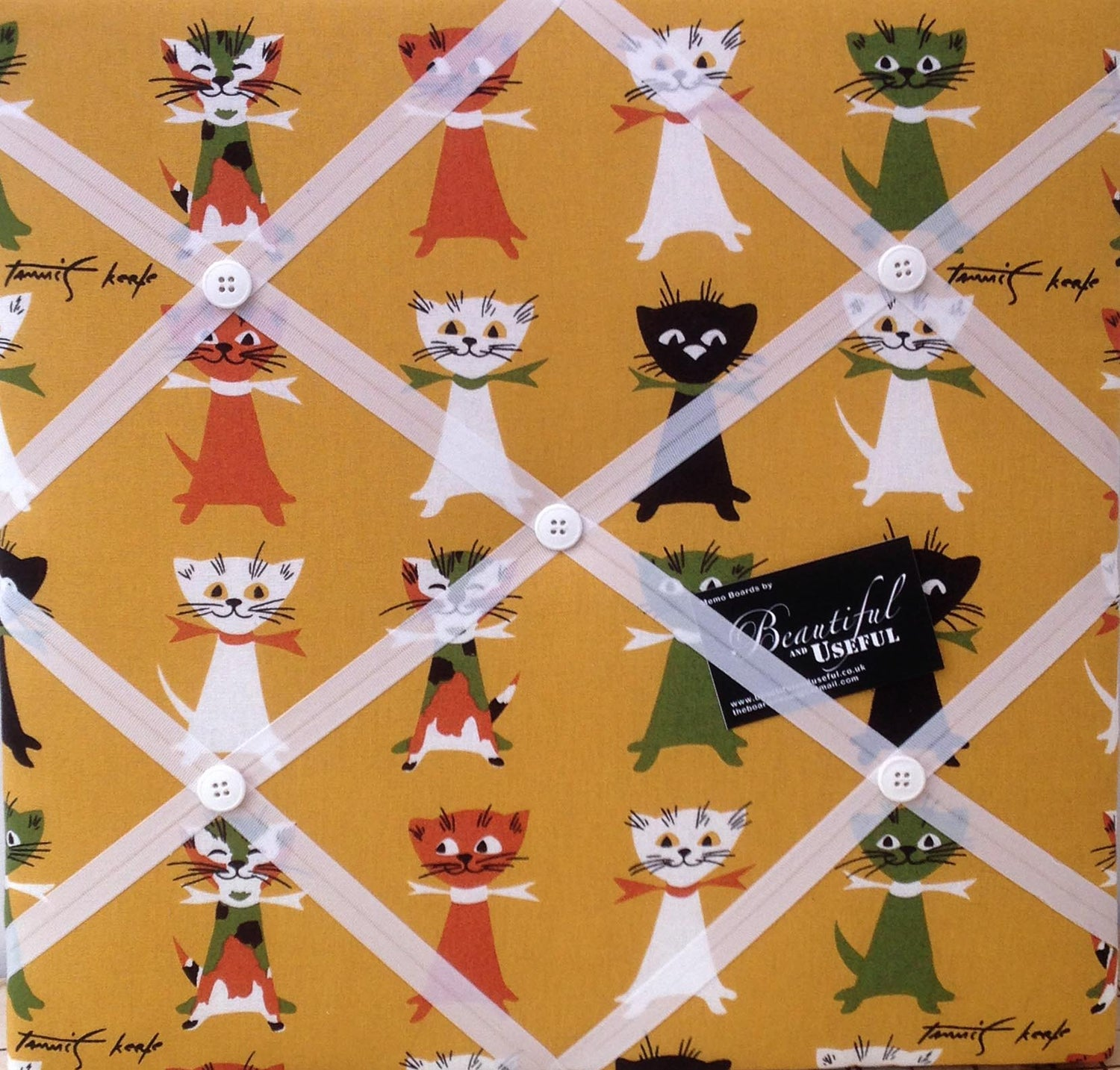 Image of Cats fabric covered, box framed Memo board