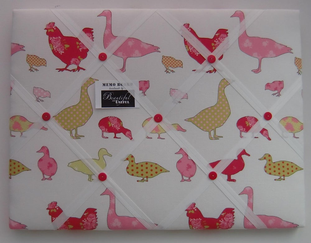 Image of Ducks and chickens fabric covered, BOX FRAMED,Memo board