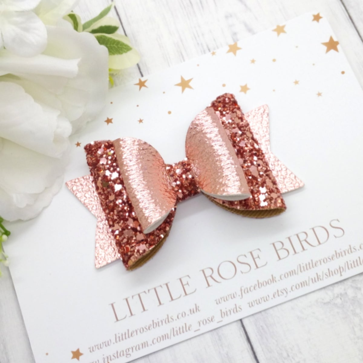 Image of Rose Gold Glitter Bow - Choice of Size