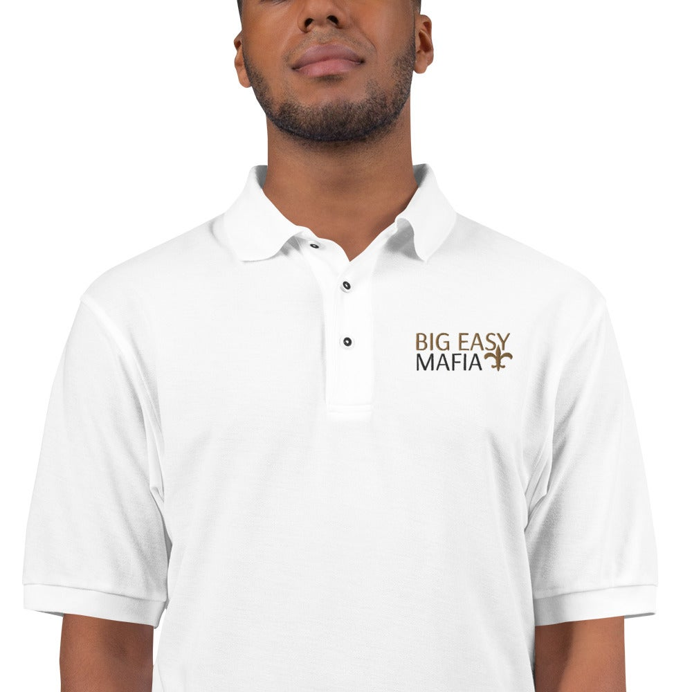 "Image of Men's Premium Big Easy Mafia ""MADE MAN""  White  Polo"