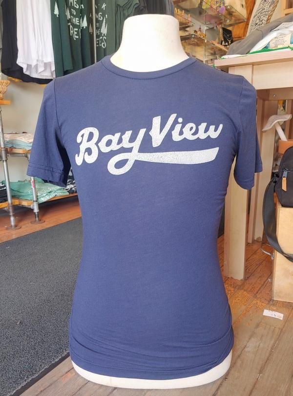 Image of Navy Blue Bay View Script Unisex Tee