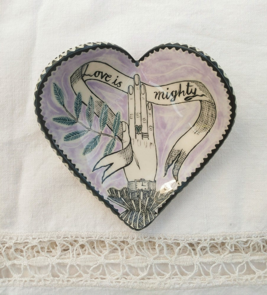 Image of Love is Mighty.   Jewellery dish