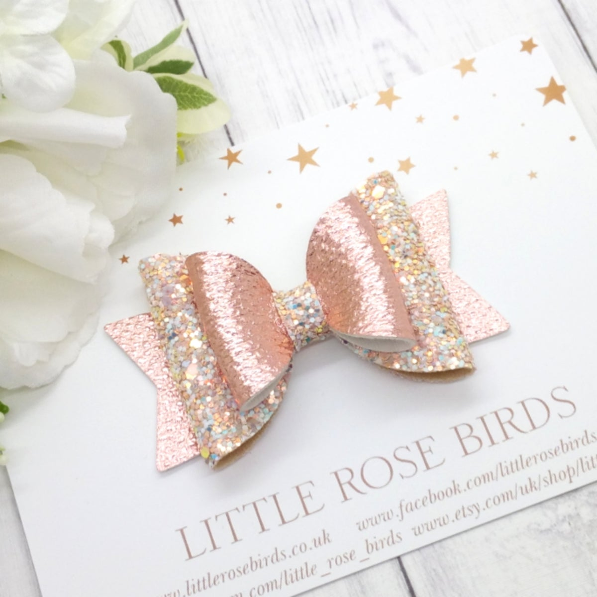 Image of Blush Pink / Rose Gold Glitter Bow - Choice of Size