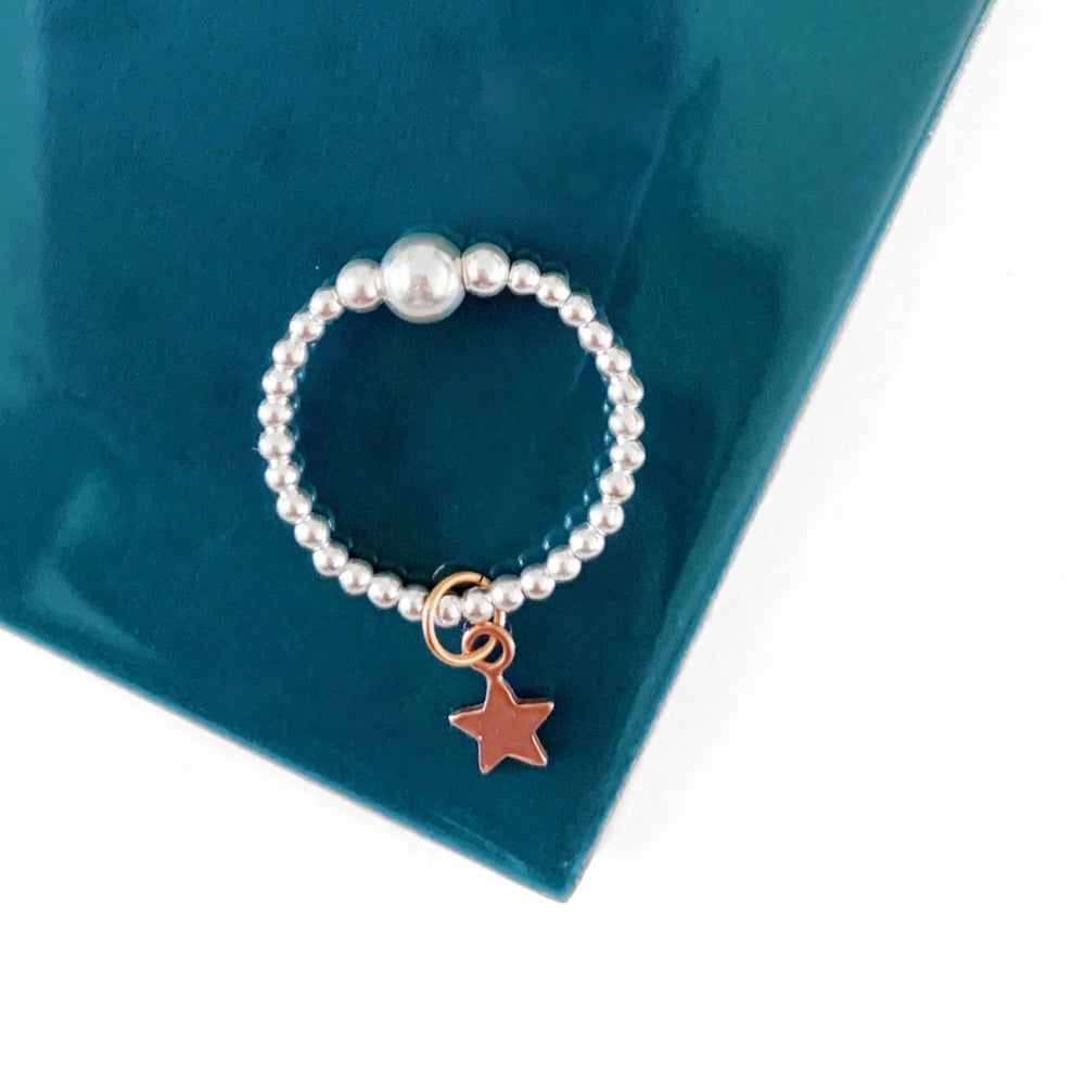Image of Sterling Silver & Rose Gold Star Charm Ring