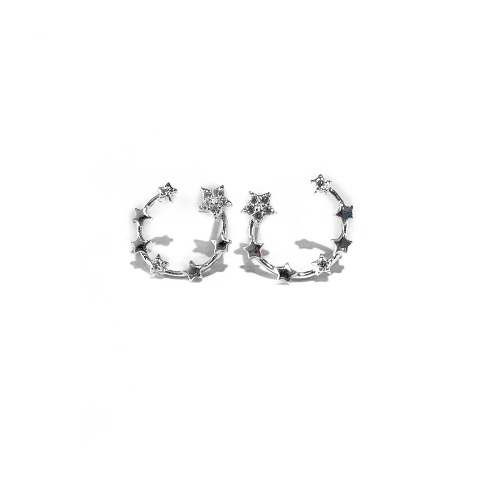 Image of Sterling Silver Star Crescent Earrings