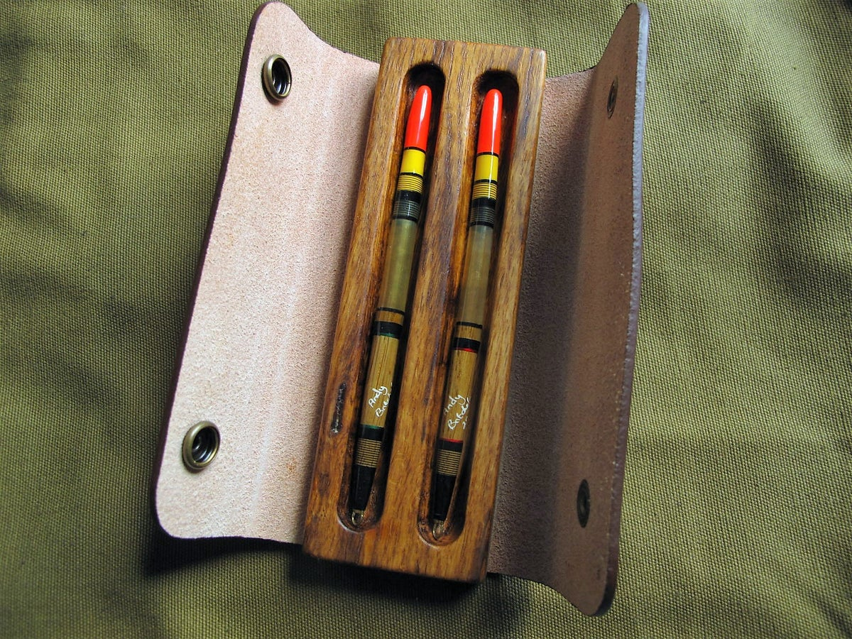 Image of 2 x goose quills in Oak and leather case