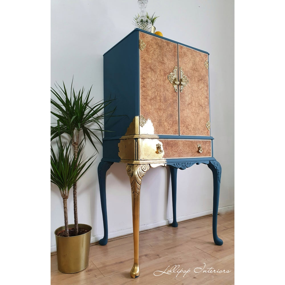 Image of Cocktail cabinet in teal with gold leaf detailing