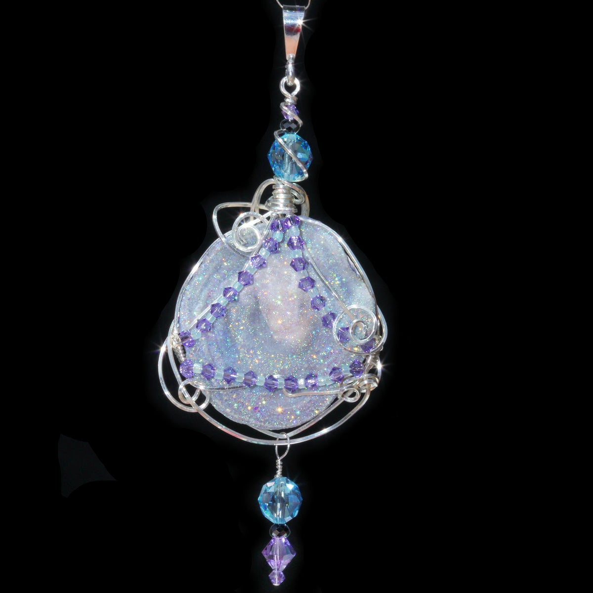 Aura Chalcedony Rosette Wire Wrapped Pendant with Black Spinel