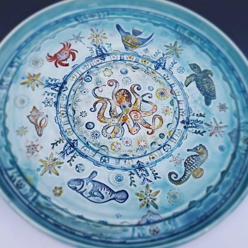 Image of Octopus Aquamarine Rimmed Porcelain Platter