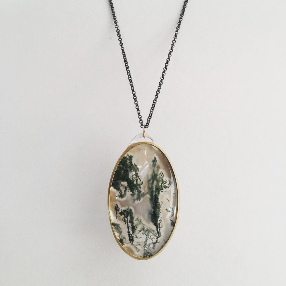 Image of Moss Agate Necklace- large
