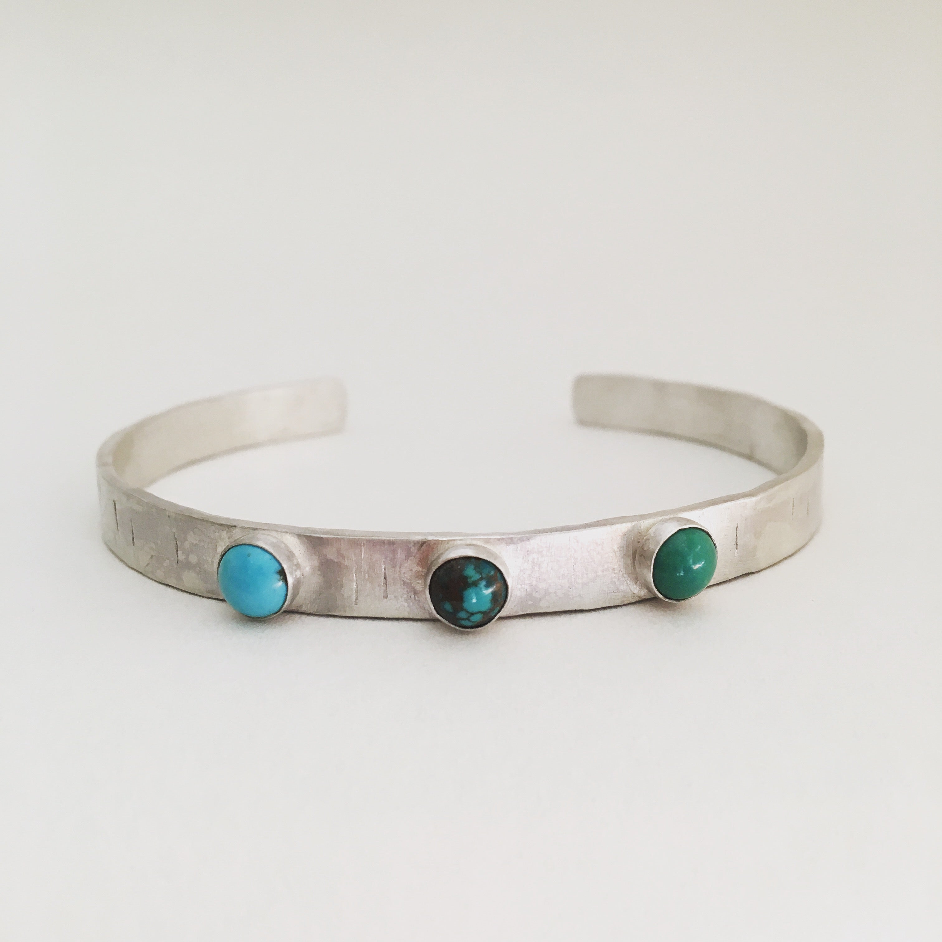 Turquoise and Sterling Silver Cuff OOAK Handmade Turquoise Cabochon and Textured Sterling Silver Stackable Cuff Bracelet