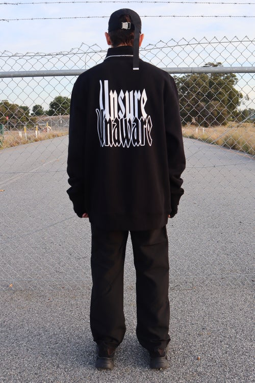 "Image of ""UNCERTAINTY"" BLACK QUARTER ZIP"