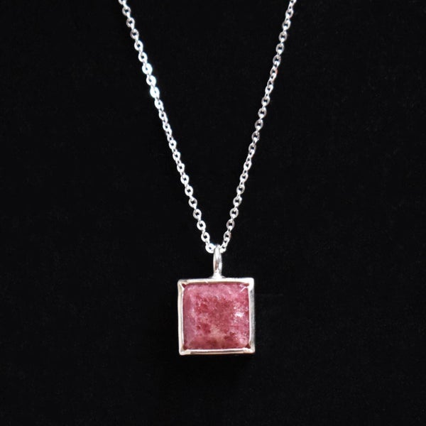 Image of Rhodochrosite square cut silver necklace