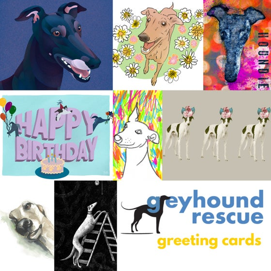 Image of Greyhound Rescue Greeting Cards - 8 pack