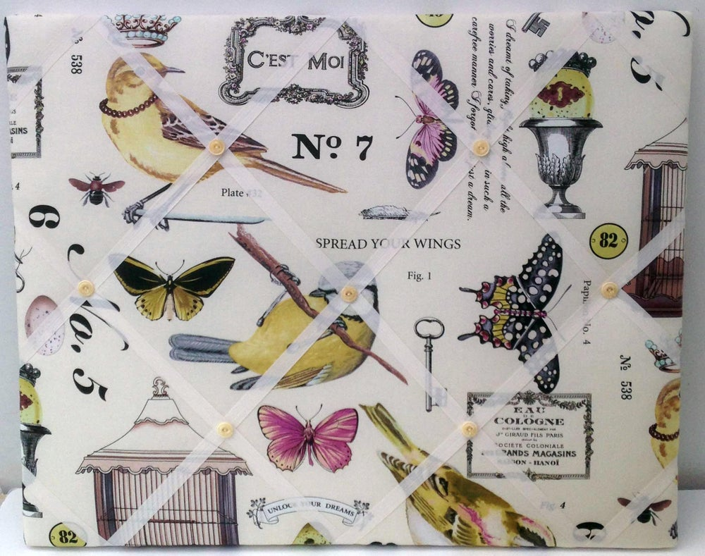 Image of Large 'Spread your Wings' Birds and Butterflies fabric Memo Board