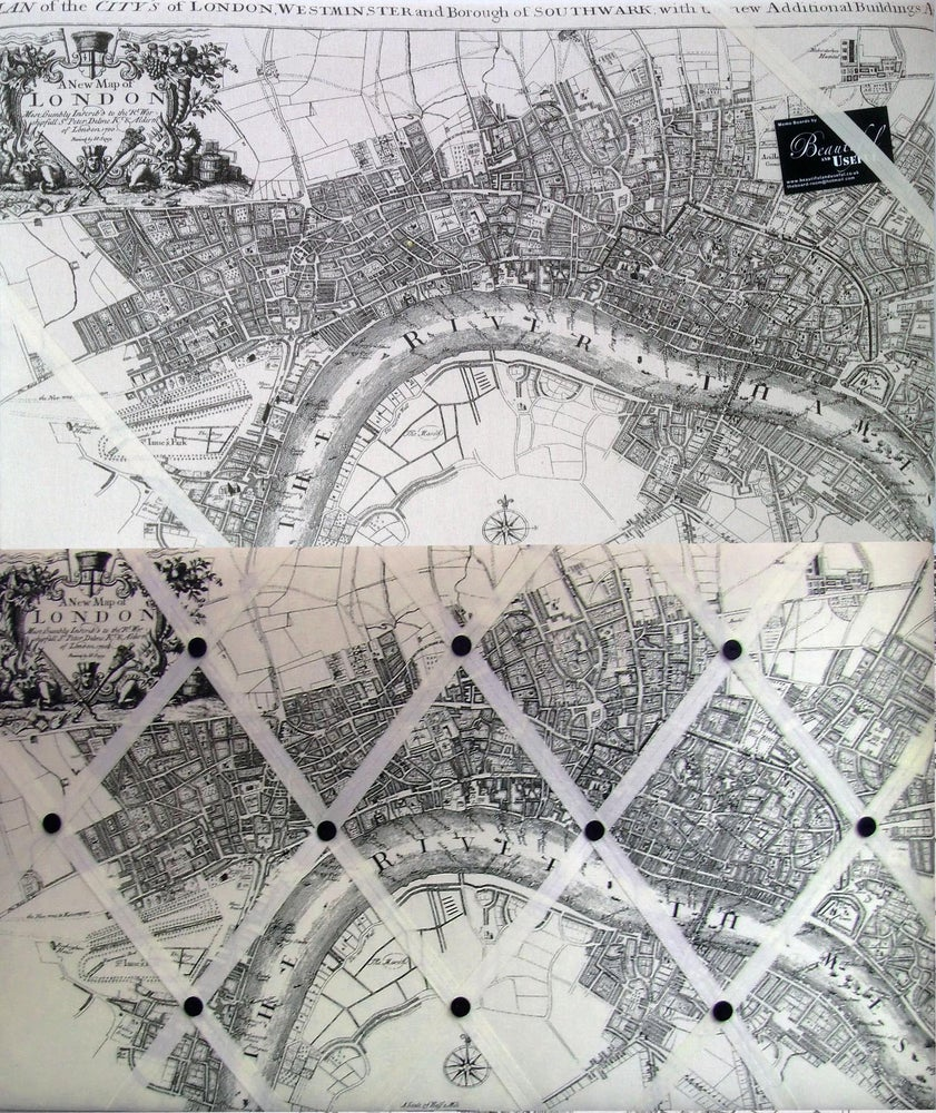 Image of Old London Map fabric Memo or Pin board