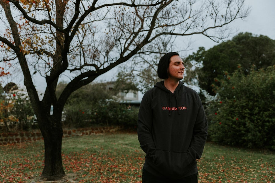 Image of 'Carrington' Embroid Hoodie - Coal/Coral