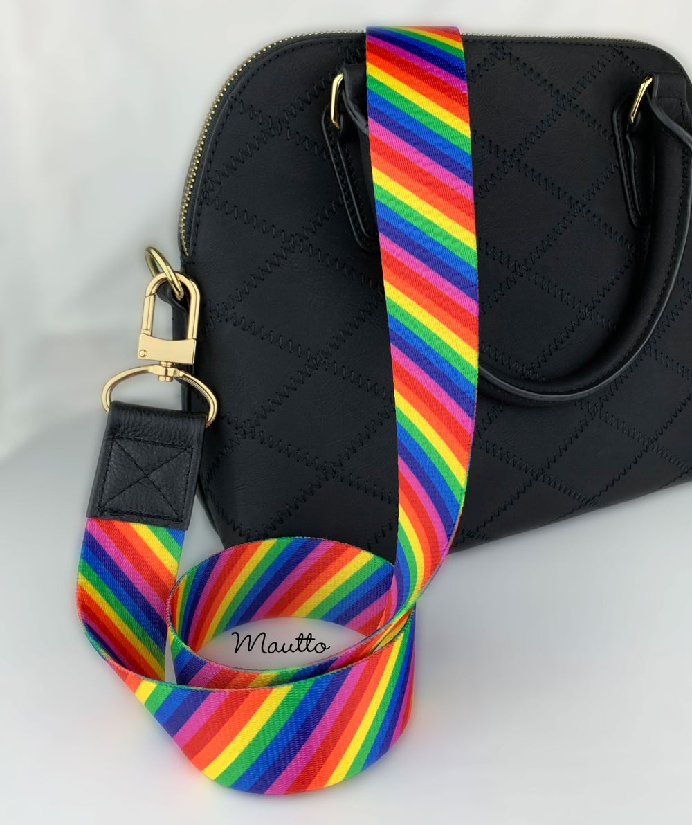 """Image of Rainbow Handbag/Purse Strap - 1.5"""" Wide & Comfy - Black Leather Accents - Choose #16XLG Clip Finish"""