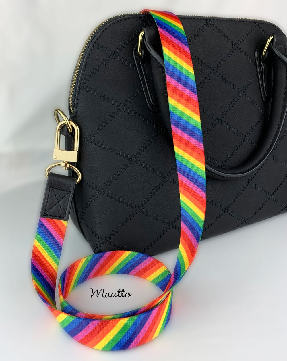"Image of Rainbow Handbag/Purse Strap - 1"" Wide Classic Fit - Black Leather Accents, Choose #16XLG Clip Finish"