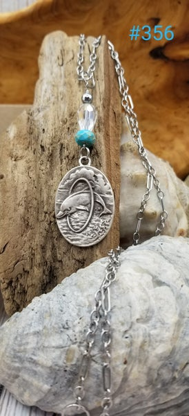 Image of Dolphin Pendant- Turquoise- Crystal- Long Necklace- #356