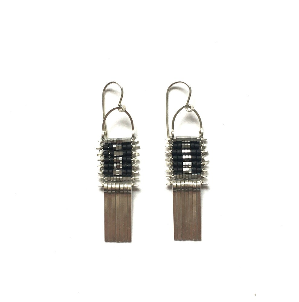 Image of Little Silver and Black Demimonde Earrings