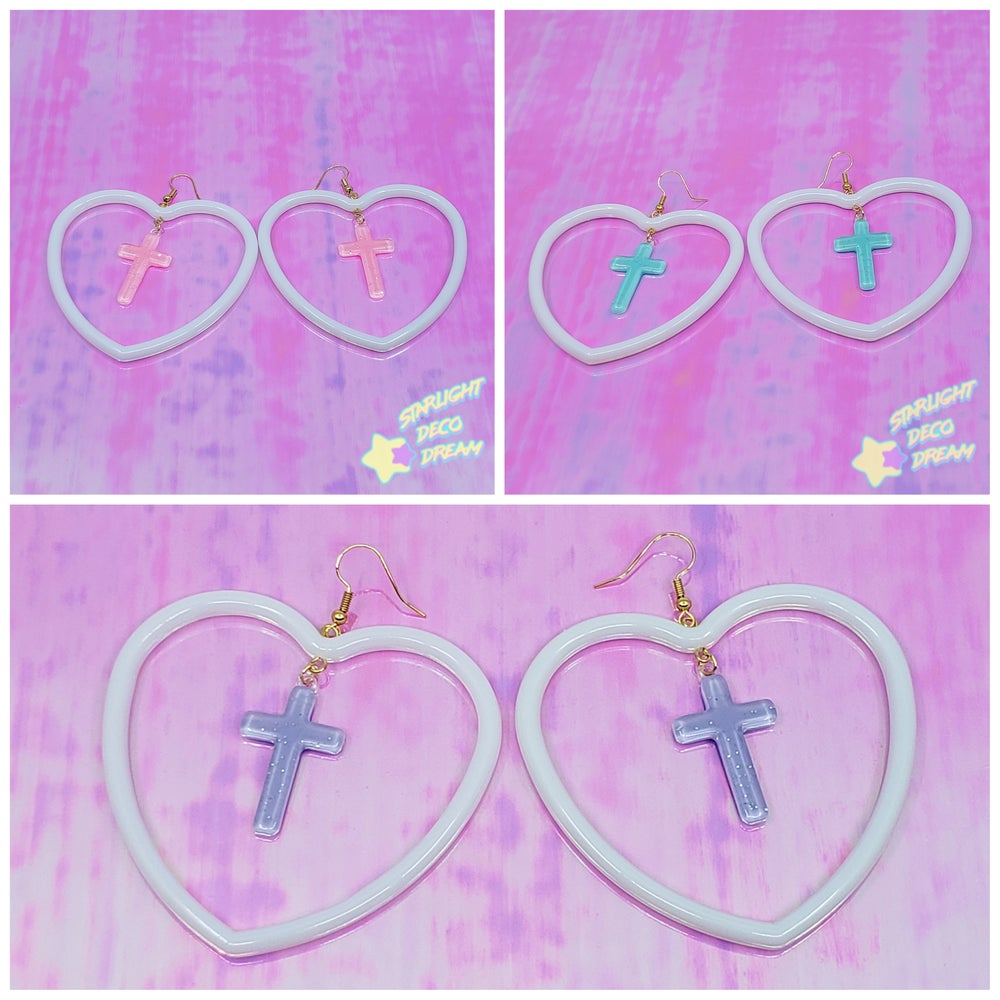 Image of Heart Hoop and Glitter Cross Plastic and 18k Gold Earrings