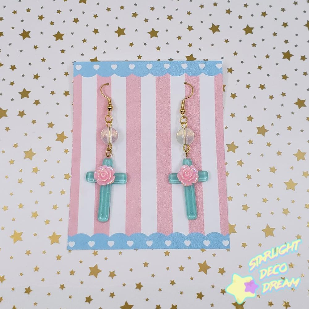 Image of Romantic Cross Pierce Earrings / Opal Glass Beads