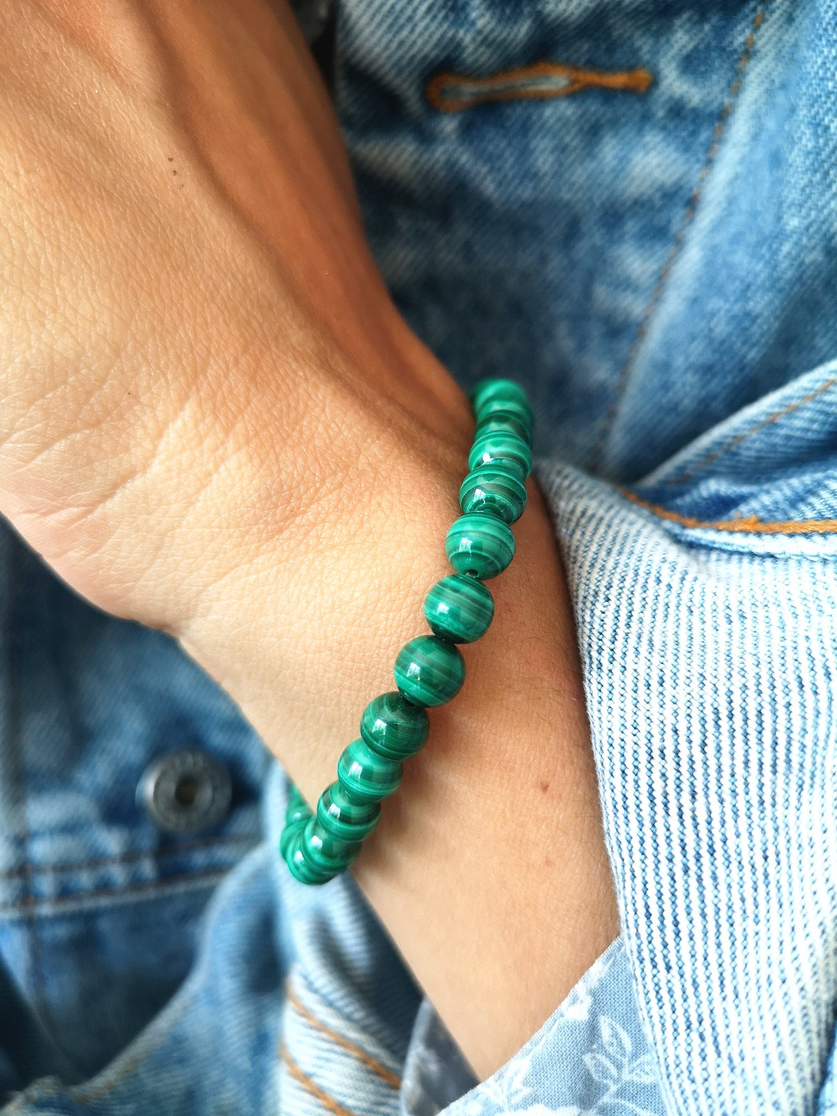 Image of Bracelet malachite - taille S -