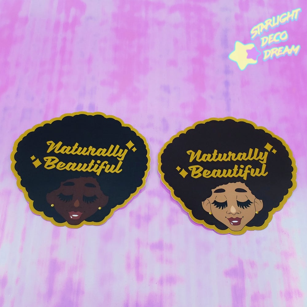 "Image of Set of TWO Large ""Naturally Beautiful"" VINYL Stickers"