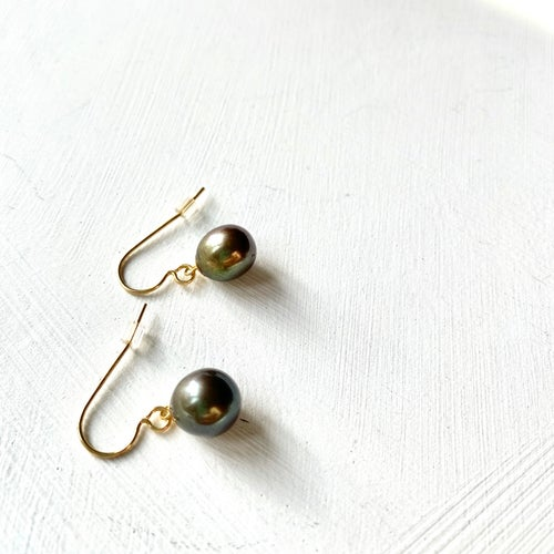 Image of Indian summer hook earrings- peacock pearls