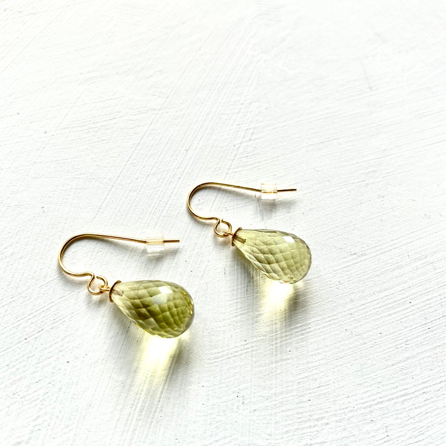 Image of Indian summer hook earrings - Large Lemon Quartz