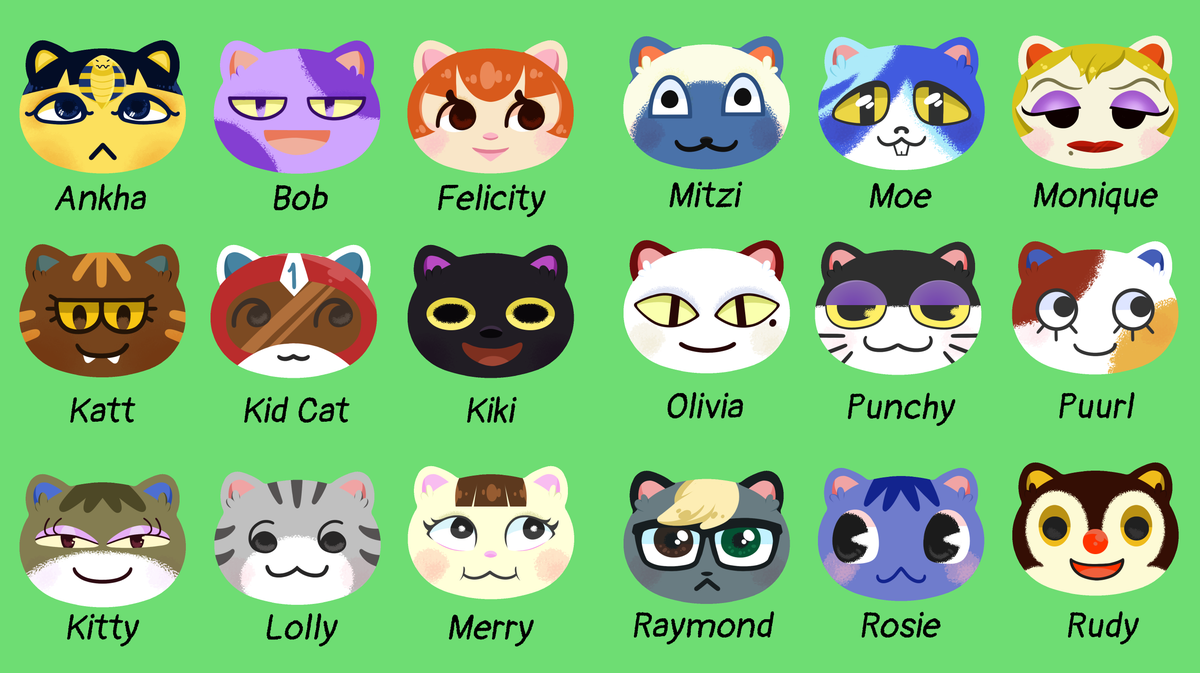 Image of Animal Crossing Cat Villager Buttons