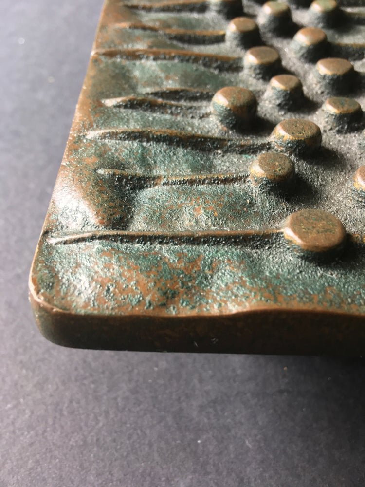 Image of Bronze Push or Pull Door Handle with Dots and Lines, Mid-20th Century, European