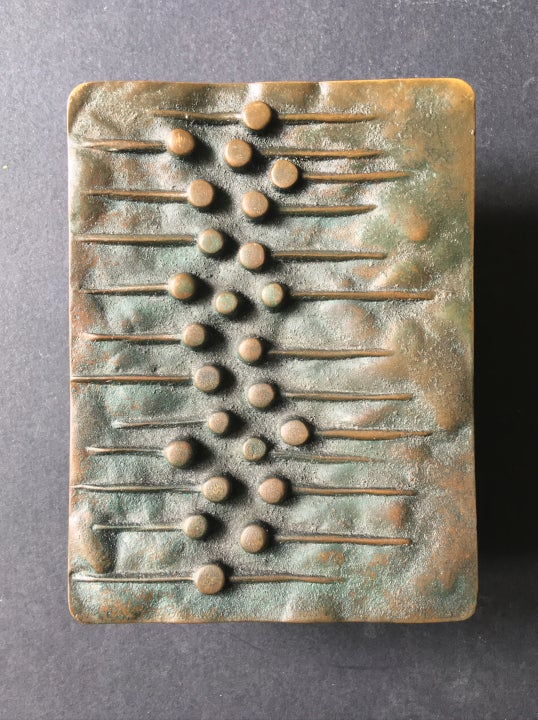 Image of Bronze Push or Pull Door Handle with Dots and Lines