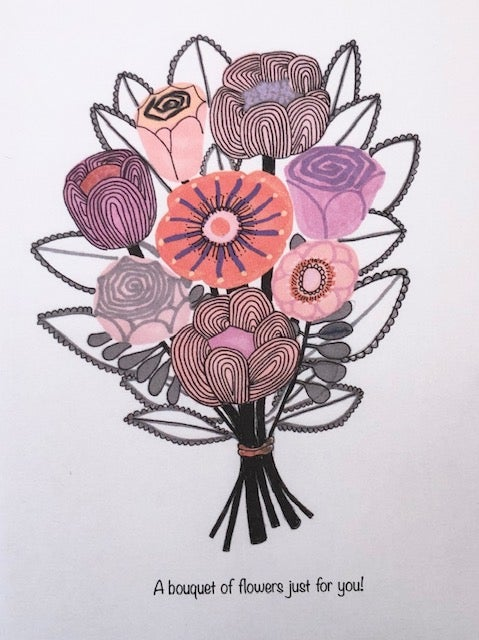 Image of A bouquet of flowers just for you!  Greetings Card