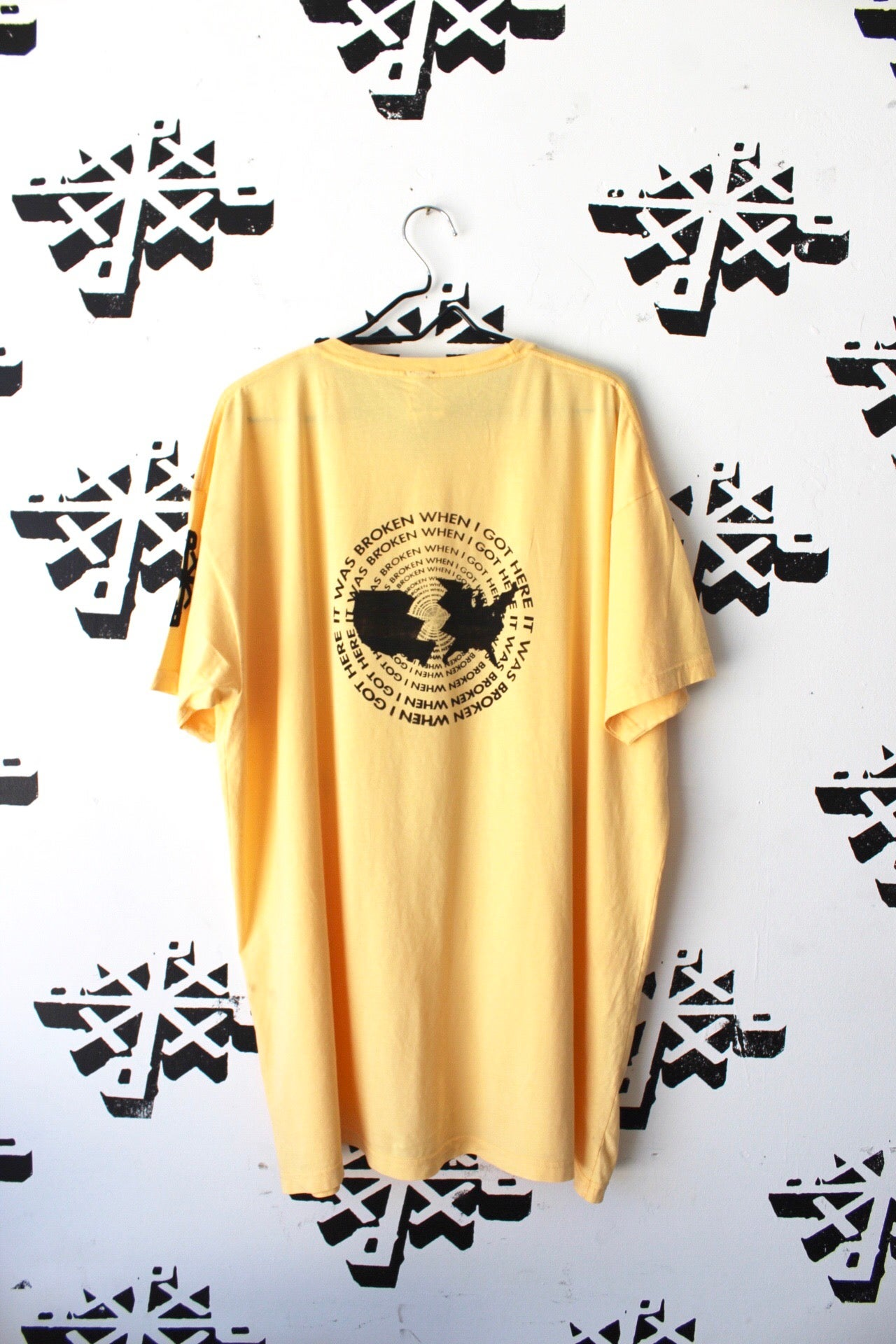 Image of broken when i got here tee in bright yellow