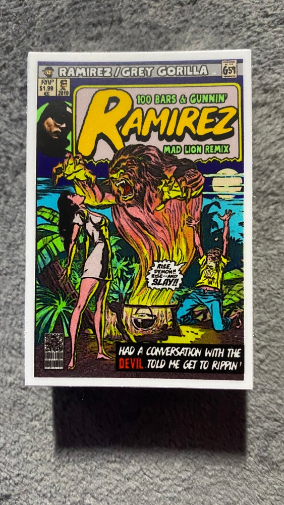 Image of Ramirez - 100 Bars & Gunnin'/Mad Lion Comic Sticker