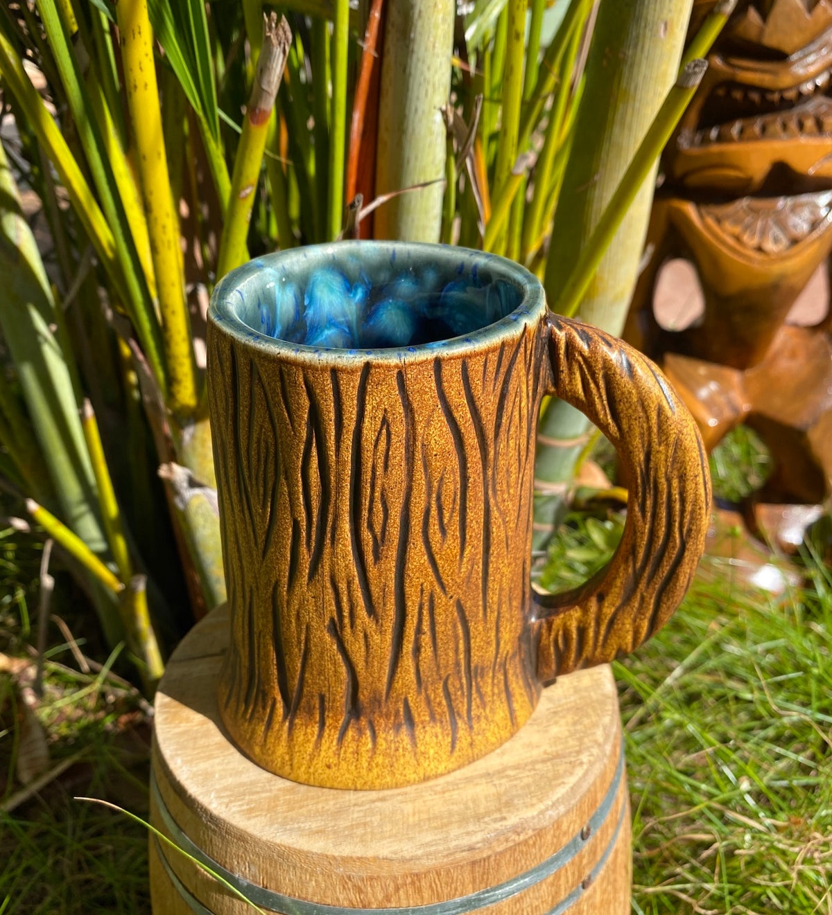Image of Jungle Brown Java Tongo Tiki Mug - Ocean Blue