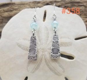 Image of Handmade- Fine Silver- Agate- Earrings- #358