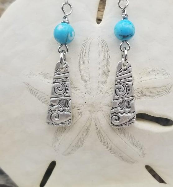 Image of Handmade- Fine Silver- Agate- Earrings- #359