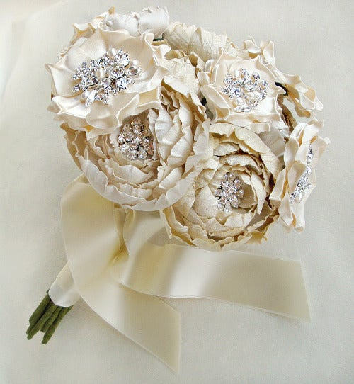 Image of Ivory and Cream Silk Catala and Jeweled Bloom Bridal Bouquet