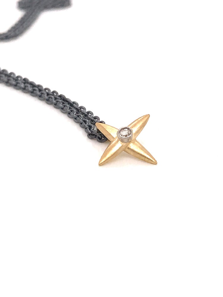 Image of Star Cross Diamond  Pendant Oxidized Silver Chain