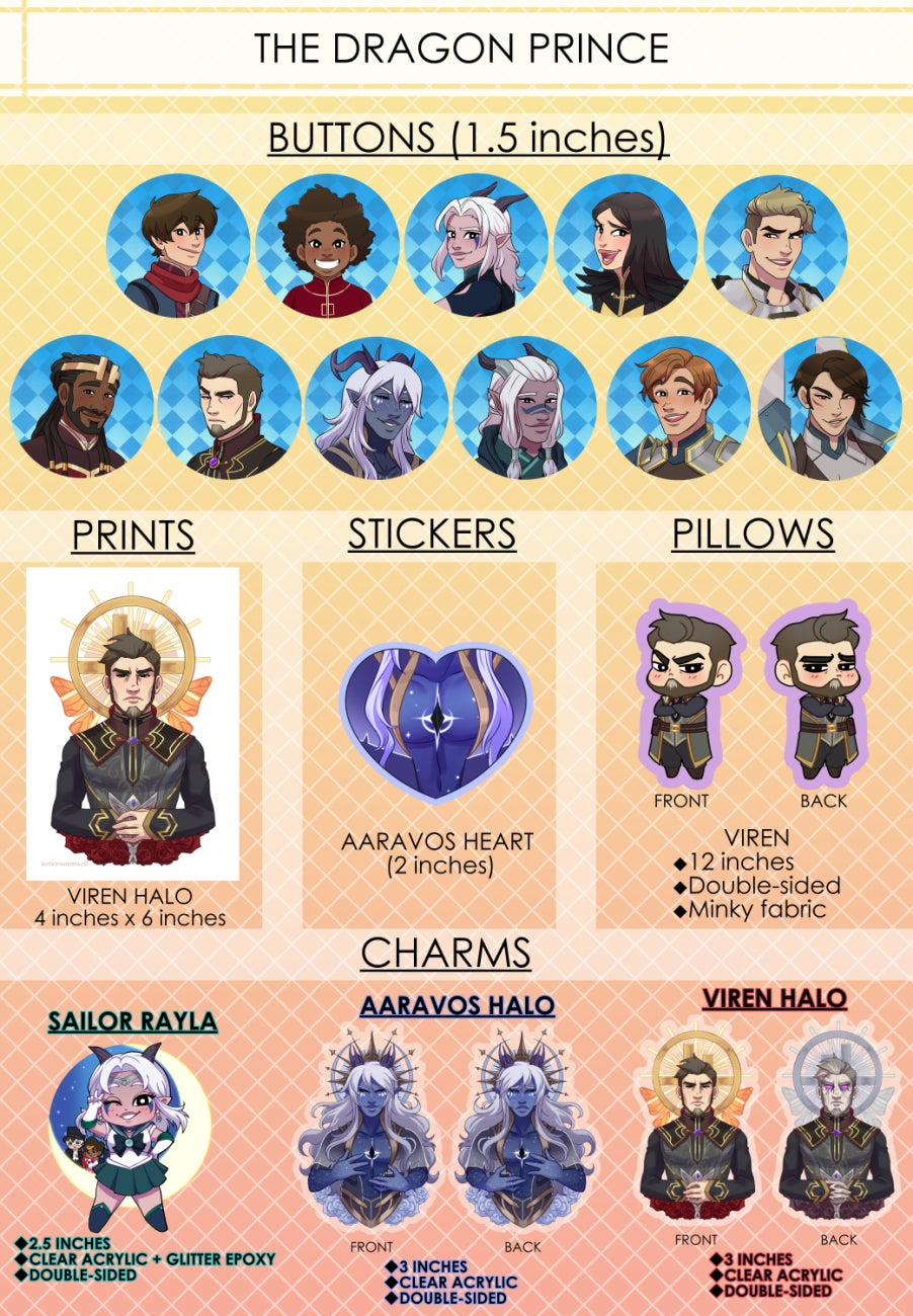 Image of The Dragon Prince Buttons, Stickers, Pillows, Charms, & Prints