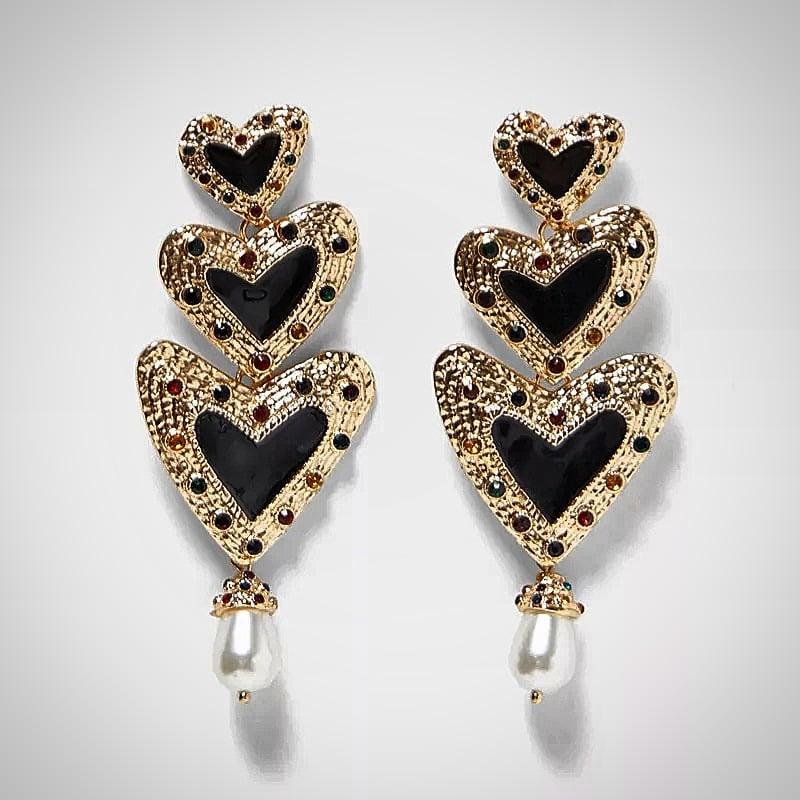 Image of Narkie Triple Heart Earring