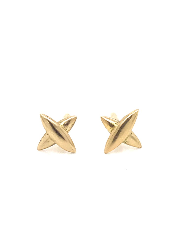 Image of Small Star Cross Stud Earrings