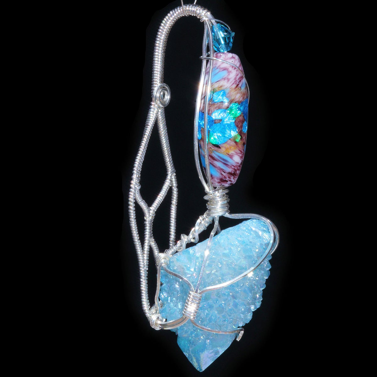 Aqua Aura Spirit Quartz Crystal Handmade Pendant with Opalescent Foil Bead